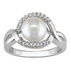Sterling Silver Freshwater Pearl Ring with Diamond Accents