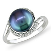 Sterling Silver Diamond Halo Freshwater Black Pearl Ring