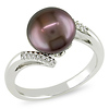 Sterling Silver Bypass Chocolate Freshwater Pearl Ring with Diamond Accents