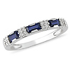 10K White Gold Baguette Sapphire & Diamond Ring Band