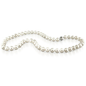 Classic 8-9mm White Freshwater Pearl Necklace with Silver Ball Clasp