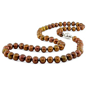 Brown Round Freshwater Pearl Necklace - Silver Ball Clasp