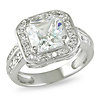 2-Row Pave Stone 1-CT Princess-Cut Halo CZ Engagement Ring in Sterling Silver