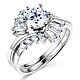 Baguette & 1-CT Round-Cut CZ Engagement Ring Set in 14K White Gold thumb 0