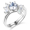 1-CT Round & Marquise-Cut CZ Wedding Ring Set in 14K White Gold