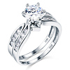 Contour 1.25ct Round CZ Wedding Ring Set in 14K White Gold
