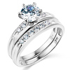 14K White Gold Round CZ Wedding Ring Set
