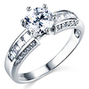Regal Baguette & 1-CT Round-Cut CZ Engagement Ring in 14K White Gold