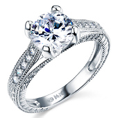 Art Deco Engraved 1-CT Round-Cut CZ Engagement Ring in 14K White Gold