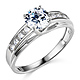 Cathedral Trellis-Set 1-CT Round-Cut CZ Engagement Ring in 14K White Gold thumb 0