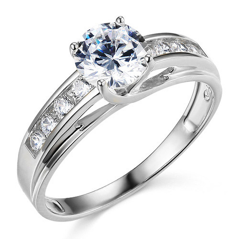 Cathedral Trellis-Set 1-CT Round-Cut CZ Engagement Ring in 14K White Gold