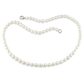 Rice White Freshwater Pearl Necklace - Lobster Clasp
