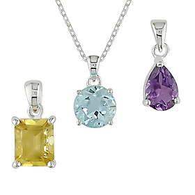 Citrine, Topaz, and Amethyst Pendants