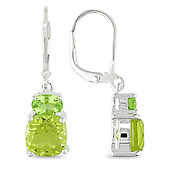 Sterling Silver Peridot Lemon Quartz Lever Back Earrings