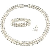 Three-Piece Silver & White Freshwater Button Pearl Jewelry Set