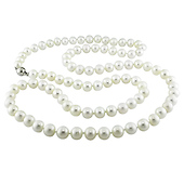 Long White Cultured Freshwater Pearl Strand Necklace