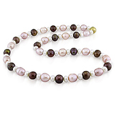 Warm Pink Multicolor Pearl Necklace Strand with Magnetic Clasp