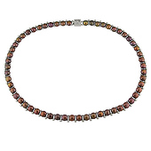 Brown Button Freshwater Pearl Necklace with Silver Beads & Clasp