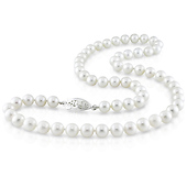 6.5-7mm White Freshwater Pearl Necklace with Fish Eye Clasp