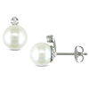 Sterling Silver Freshwater Cultured Pearl Earrings with Diamond Accent