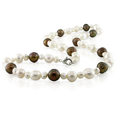 Natural Shape Brown & White Freshwater Pearl Necklace