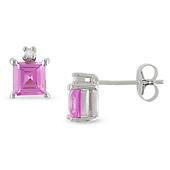 Sterling Silver Created Pink Sapphire Stud Earrings with Diamond Accents
