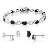 Sterling Silver Oval White Topaz & Black Sapphire Bracelet Set