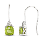 Round-Cut Peridot & Diamond Accented Drop Earrings in 10K White Gold