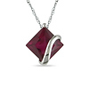 10K White Gold Diamond Shaped Created Ruby Pendant