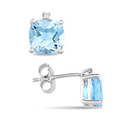 Sky Blue Topaz Stud Earrings with Diamond Accents - Sterling Silver