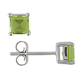 Princess-Cut Peridot Stud Earrings in 14K White Gold 0.63ctw