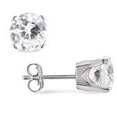 10K White Gold Round Created White Sapphire Stud Earrings