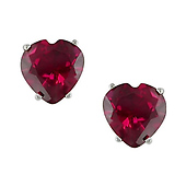 10K White Gold Created Ruby Heart Stud Earrings