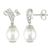White Freshwater Pearl Drop Earrings with Diamond Accents