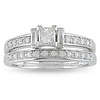 14K White Gold Princess Cut Diamond Bridal Ring Set