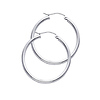 Polished Hinge Round Medium Hoop Earrings - 14K White Gold 2mm x 1.38 inch