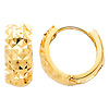 Thick Faceted 14K Yellow Gold Huggie Earrings 5mm x 7mm