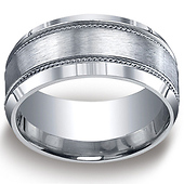10mm Argentium Silver Satin Rope Edge  Men's Wedding Band