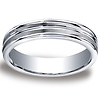5mm Argentium Silver Satin Double Groove Benchmark Wedding Band