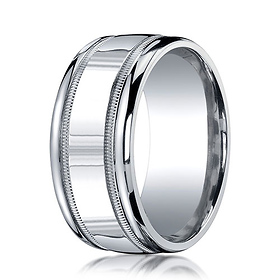 10mm Argentium Silver High Polished Milgrain Benchmark Wedding Band