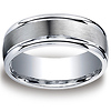 9mm Argentium Silver Satin Centered High Polished Wedding Ring