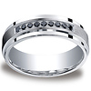 7mm Argentium Silver Pave Set 9 Stone Black Diamond Benchmark Wedding Ring 0.18ctw