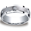 7mm Argentium Silver Satin Pave Set 6 Stone Diamond Benchmark Wedding Ring 0.12ctw