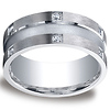 9mm Argentium Silver Satin 12-Stone Round Diamond Design Wedding Ring