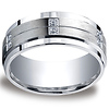 9mm Argentium Silver Pave Set 12-Stone Diamond Design Wedding Band (.24ct)