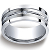9mm Argentium Silver Satin Pave Set 6-Stone Diamond Wedding Band (.12ct)