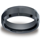 7mm High Polished Beveled Edge Black Ceramic Ring - Benchmark Forge