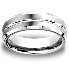 7mm Cobaltchrome Grooved Center Beveled Edge Wedding Ring