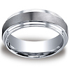 8mm Cobaltchrome Satin Center Double Step Edge Wedding Ring