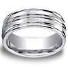 8mm Cobaltchrome Satin & Polished Grooved Wedding Ring